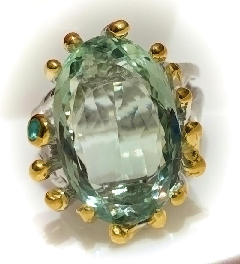 Stunning Prasiolite Emerald 'Energy' Ring Size 7.5 .925 Sterling Silver wit