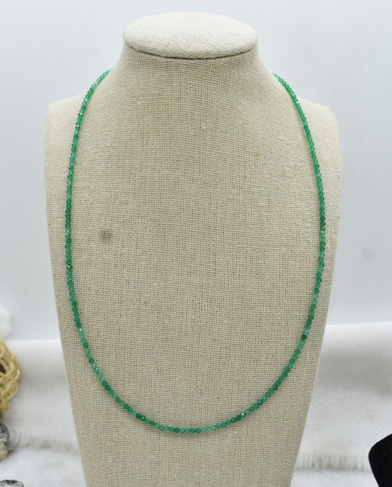 Green Onyx Beads Necklace Natural Gemstone 925 Sterling Silver Clasp NK1