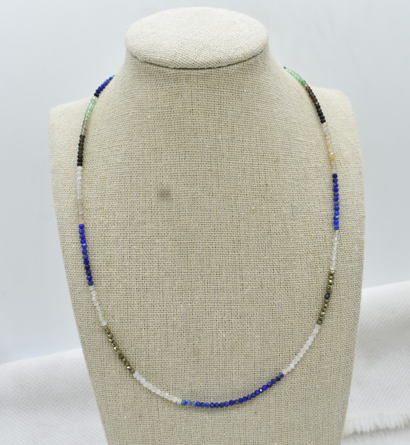 MIX Beads Necklace Natural Gemstone 925 Sterling Silver Clasp NK3