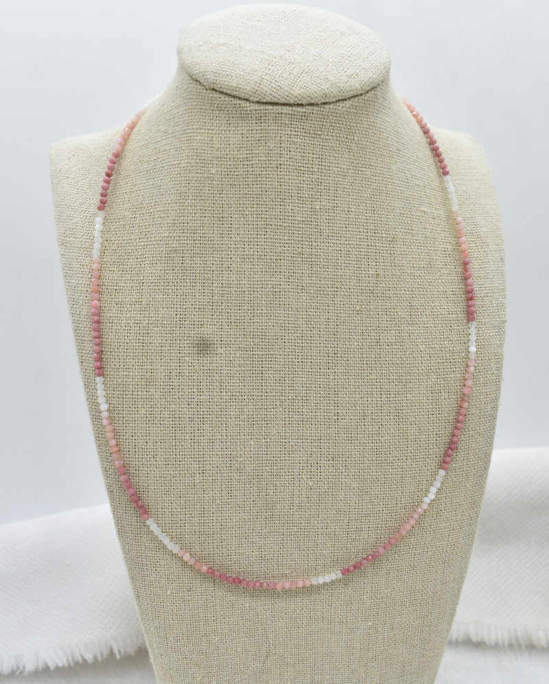 Pink Opal Beads Necklace Natural Gemstone 925 Sterling Silver Clasp NK7