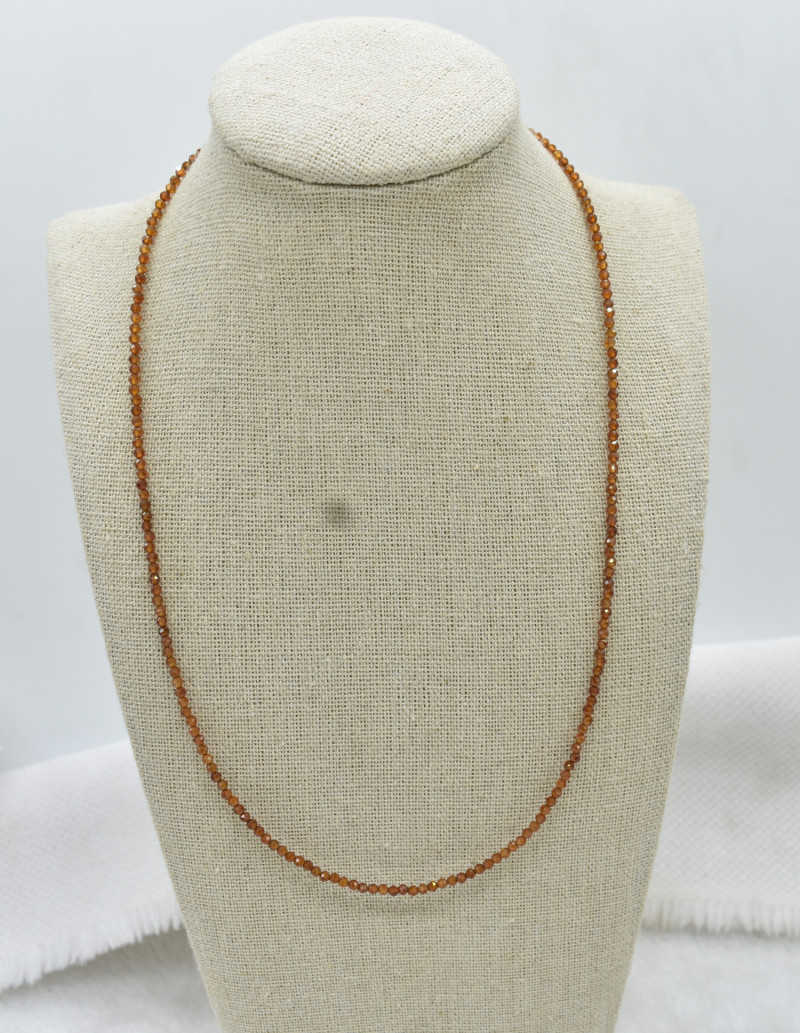 Garnet Beads Necklace Natural Gemstone 925 Sterling Silver Clasp NK10