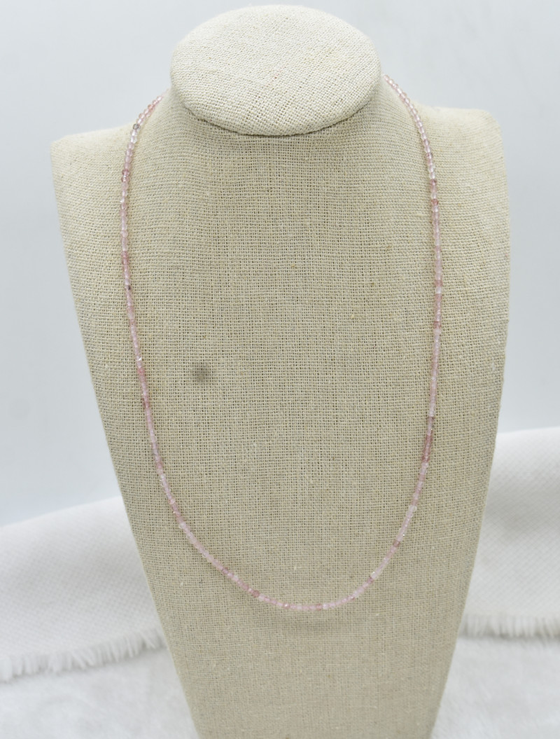 Rose Quartz Beads Necklace Natural Gemstone 925 Sterling Silver Clasp NK15