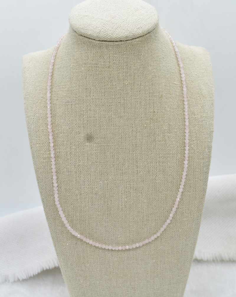 Rose Quartz Beads Necklace Natural Gemstone 925 Sterling Silver Clasp NK17