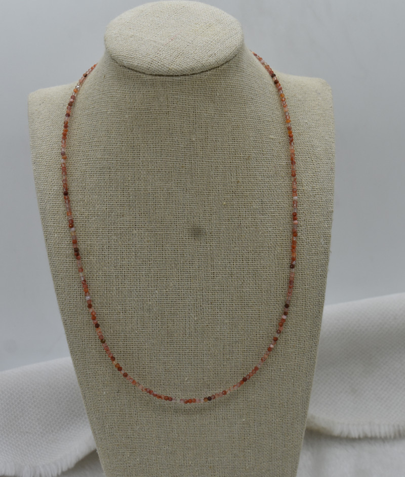Beads Necklace Natural Gemstone 925 Sterling Silver Clasp NK21