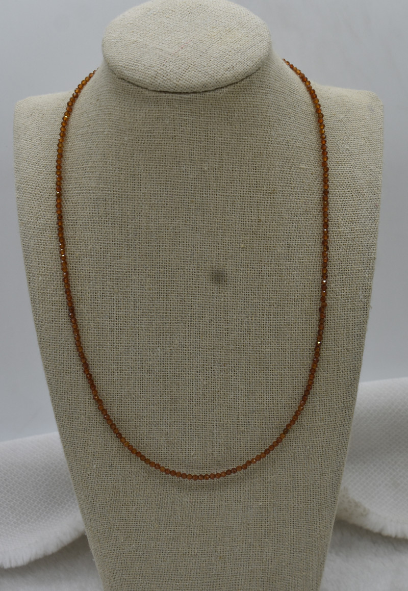 Garnet Beads Necklace Natural Gemstone 925 Sterling Silver Clasp NK23