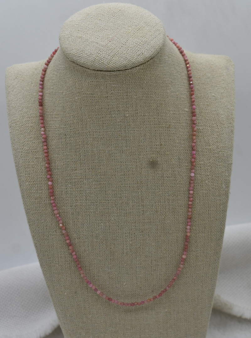 Pink Opal Beads Necklace Natural Gemstone 925 Sterling Silver Clasp NK26