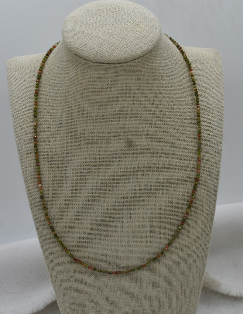 Unakite Beads Necklace Natural Gemstone 925 Sterling Silver Clasp NK27