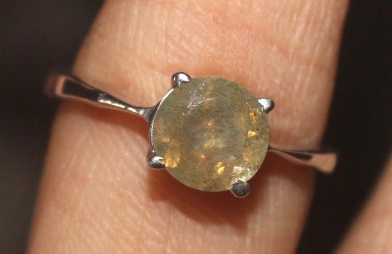 Natural Labradorite 925 Sterling Silver Ring Size (6.5) 120