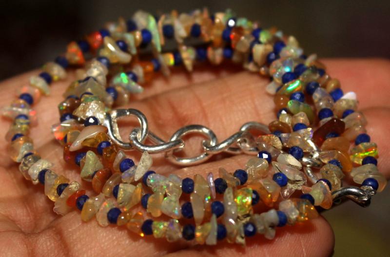 27 Crt Natural Ethiopian Welo Opal Uncut & Lapis Lazuli Necklace 39