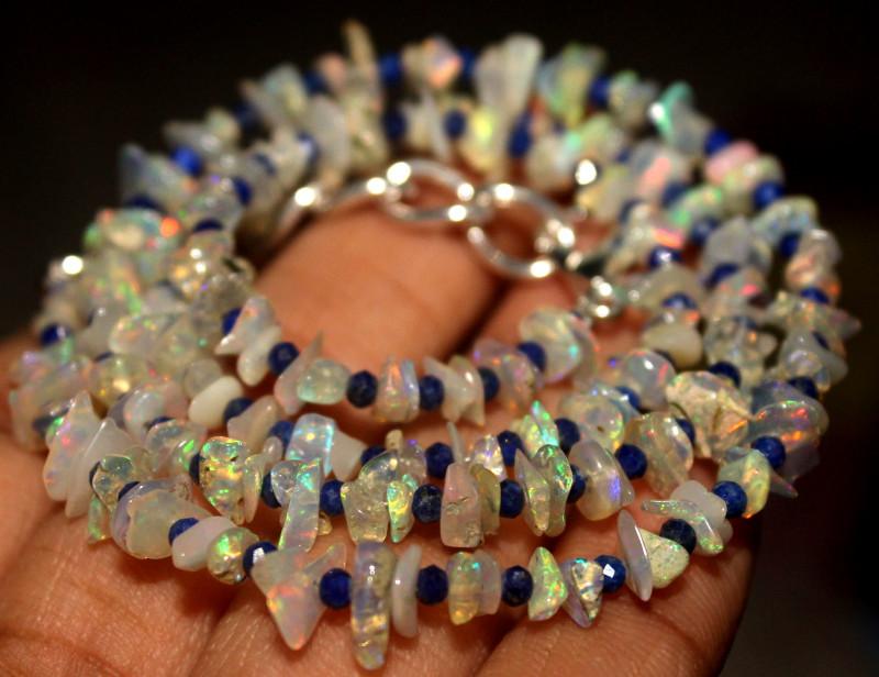 32 Crt Natural Ethiopian Welo Opal Uncut & Lapis Lazuli Necklace 36