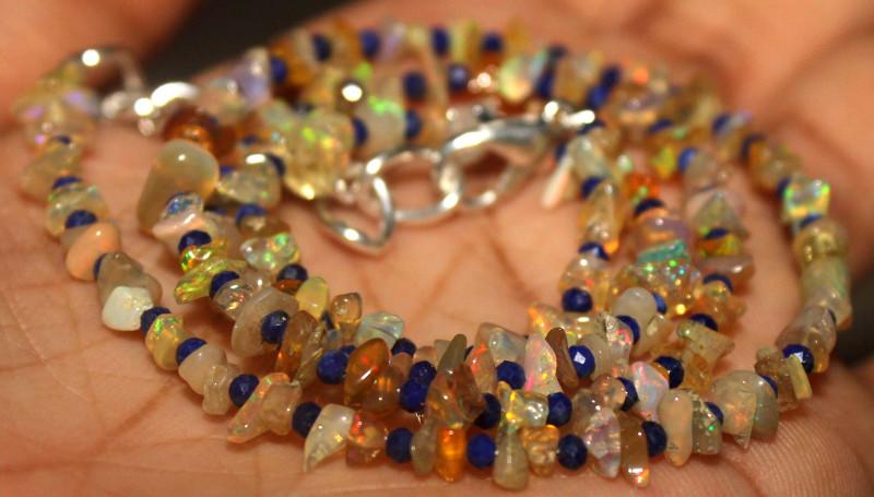 33 Crt Natural Ethiopian Welo Opal Uncut & Lapis Lazuli Necklace 24