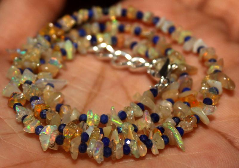 28 Crt Natural Ethiopian Welo Opal Uncut & Lapis Lazuli Necklace 37