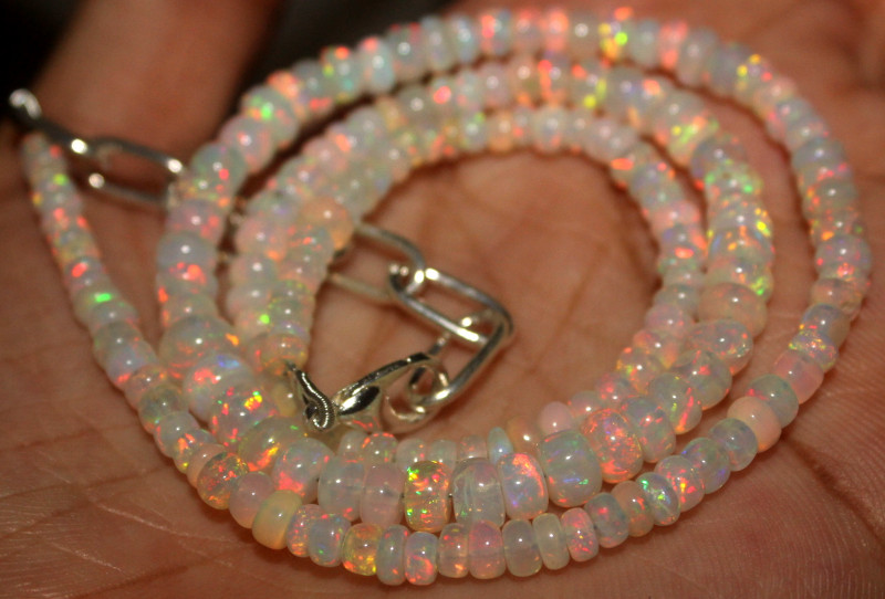 38 Crt Natural Ethiopian Welo Fire Opal Beads Necklace 919