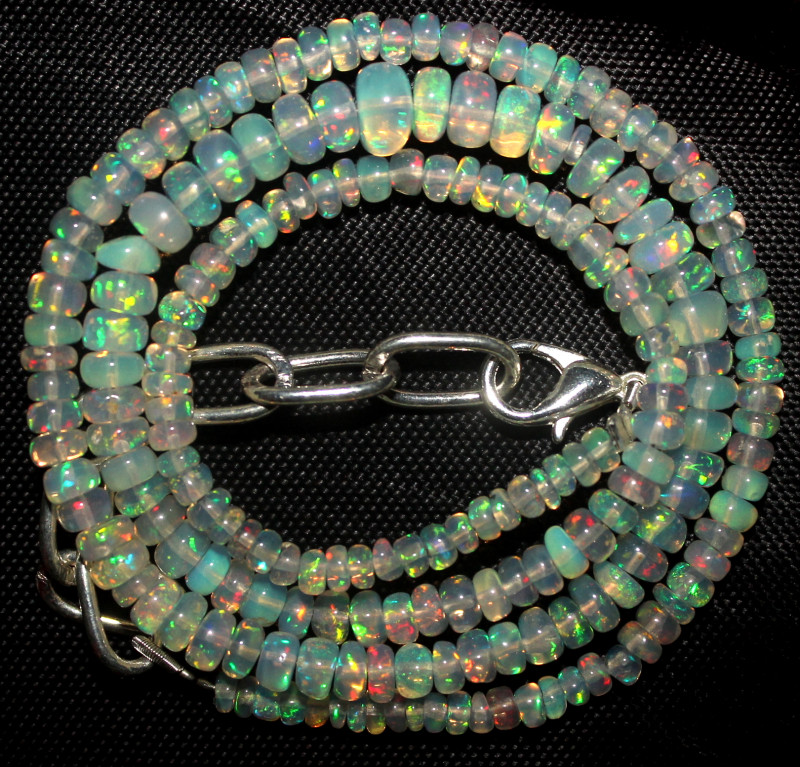 31 Crt Natural Ethiopian Welo Fire Opal Beads Necklace 931