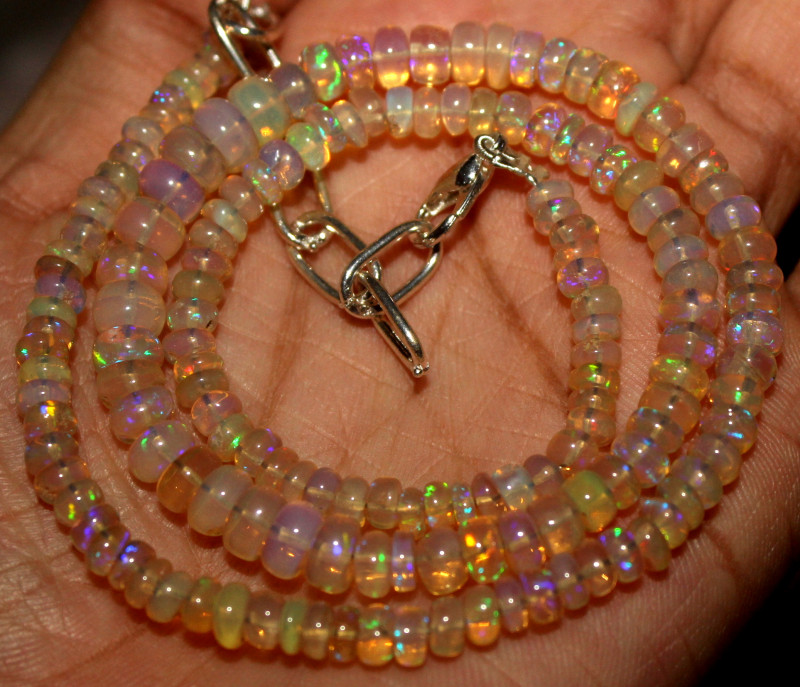 51 Crt Natural Ethiopian Welo Fire Opal Beads Necklace 936