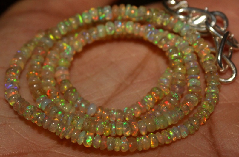 24 Crt Natural Ethiopian Welo Fire Opal Beads Necklace 950