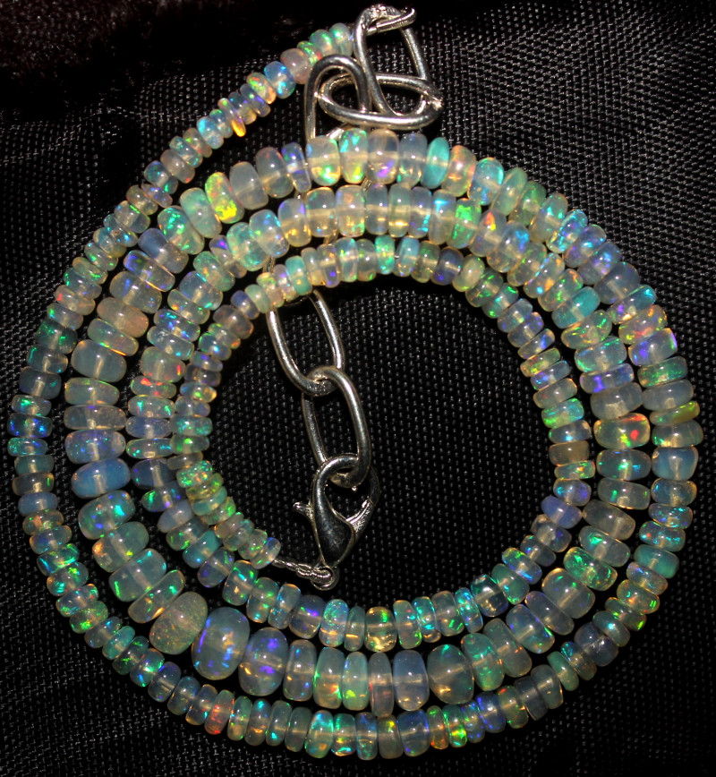 46 Crt Natural Ethiopian Welo Fire Opal Beads Necklace 960