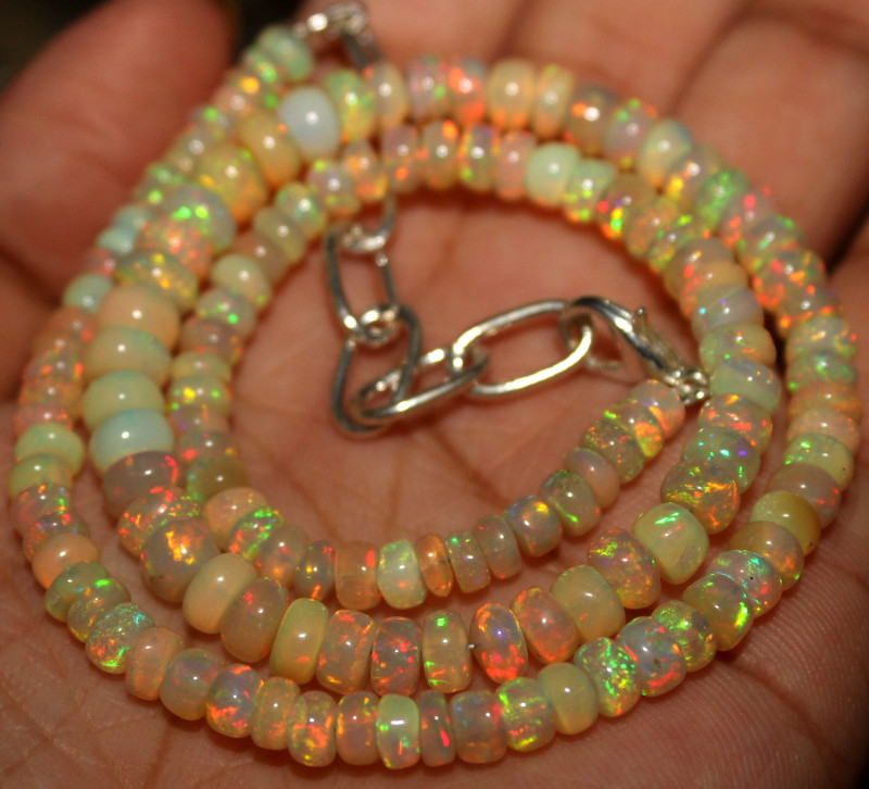 52 Crt Natural Ethiopian Welo Fire Opal Beads Necklace 53