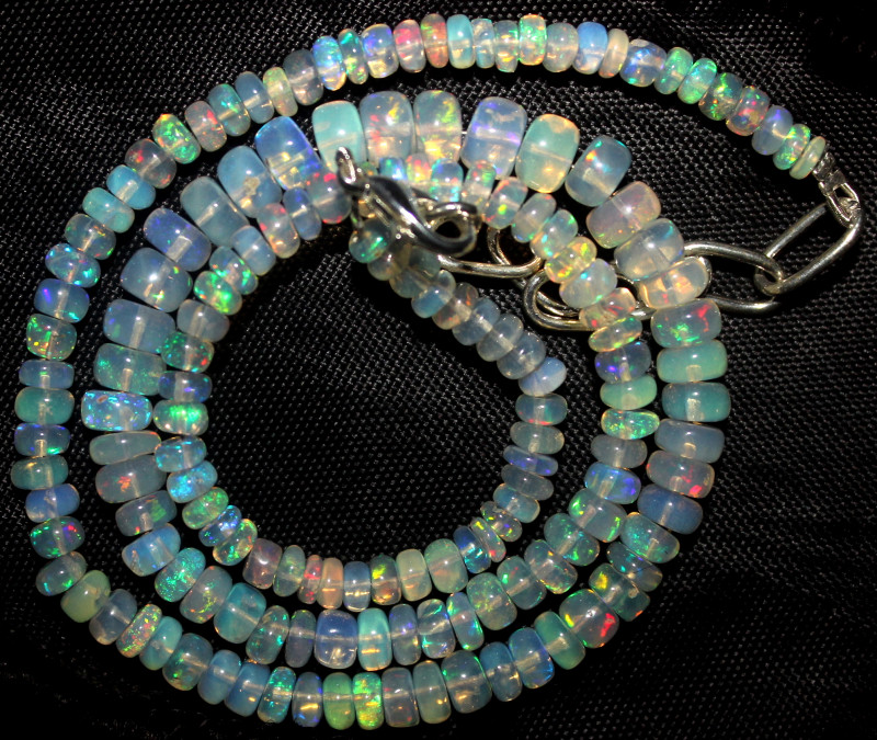 54 Crt Natural Ethiopian Welo Fire Opal Beads Necklace 967