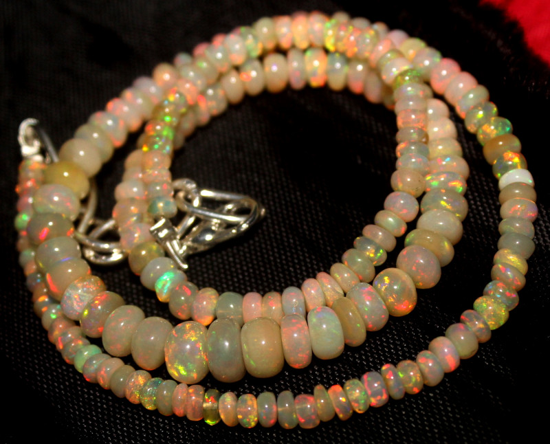 48 Crt Natural Ethiopian Welo Fire Opal Beads Necklace 972