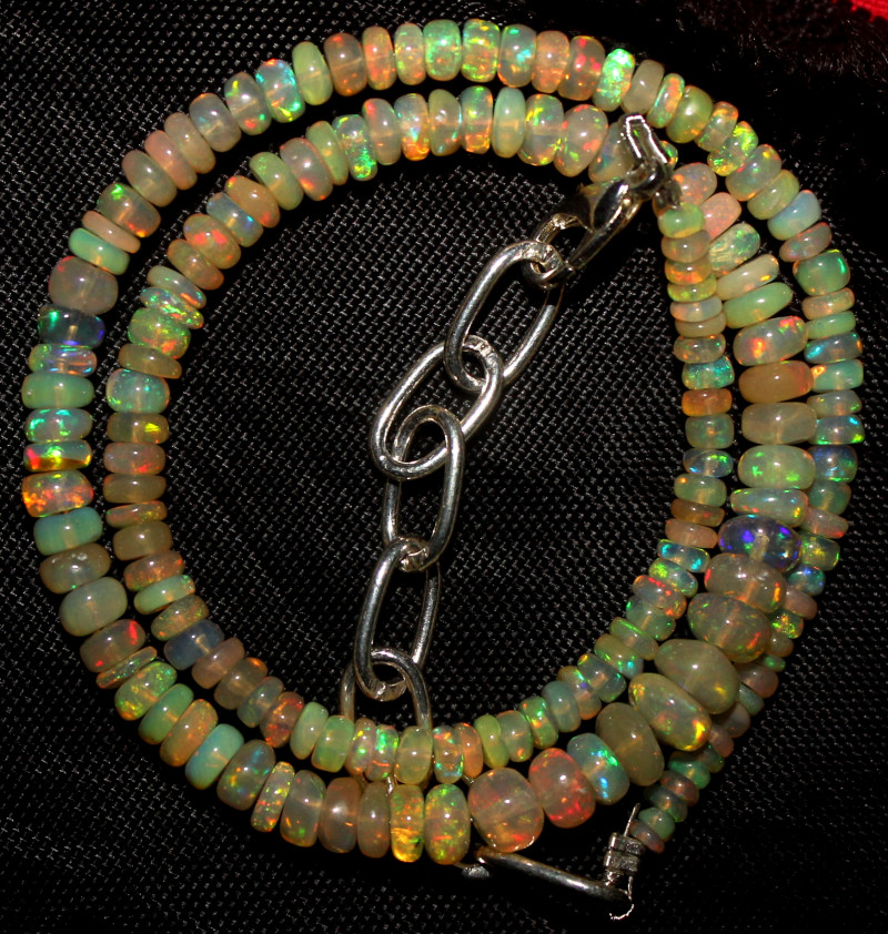 31 Crt Natural Ethiopian Welo Fire Opal Beads Necklace 974