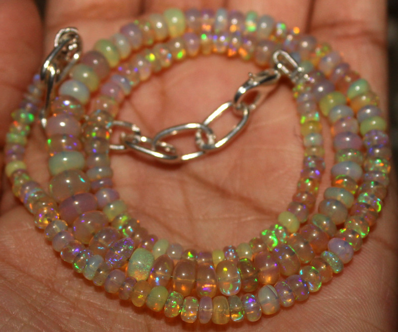 43 Crt Natural Ethiopian Welo Fire Opal Beads Necklace 979