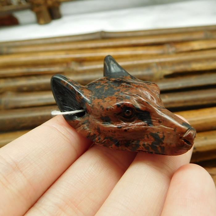 Gemstone semi-precious carving mahogony obsidian wolf head (G0358)