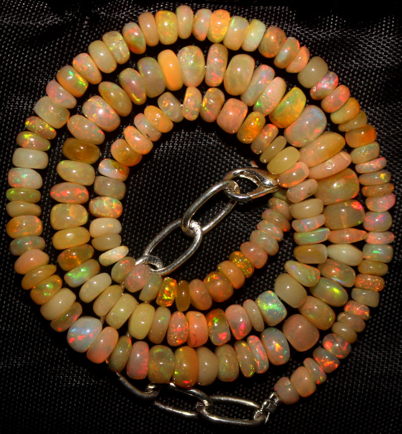 66 Crt Natural Ethiopian Welo Fire Opal Beads Necklace 1010