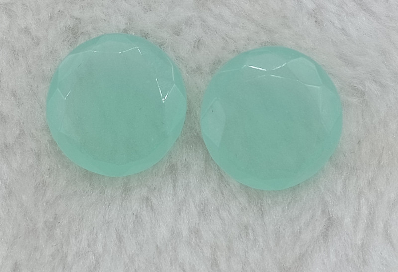 16mm Chalcedony Pair Natural Faceted Rose Cut Gemstone VAF16