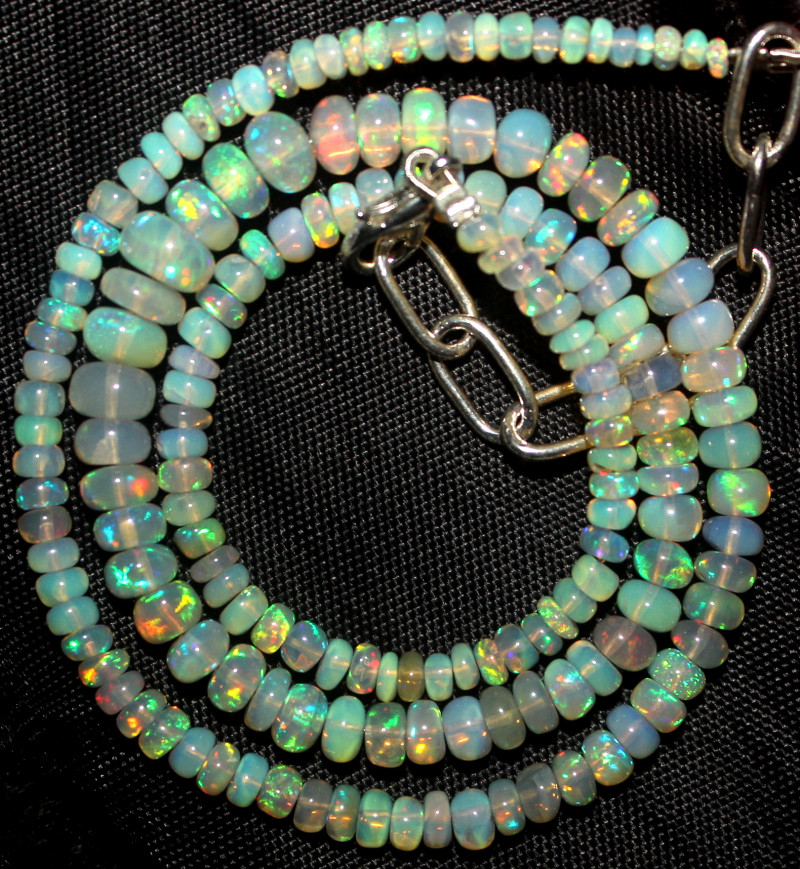 41 Crt Natural Ethiopian Welo Fire Opal Beads Necklace 1016