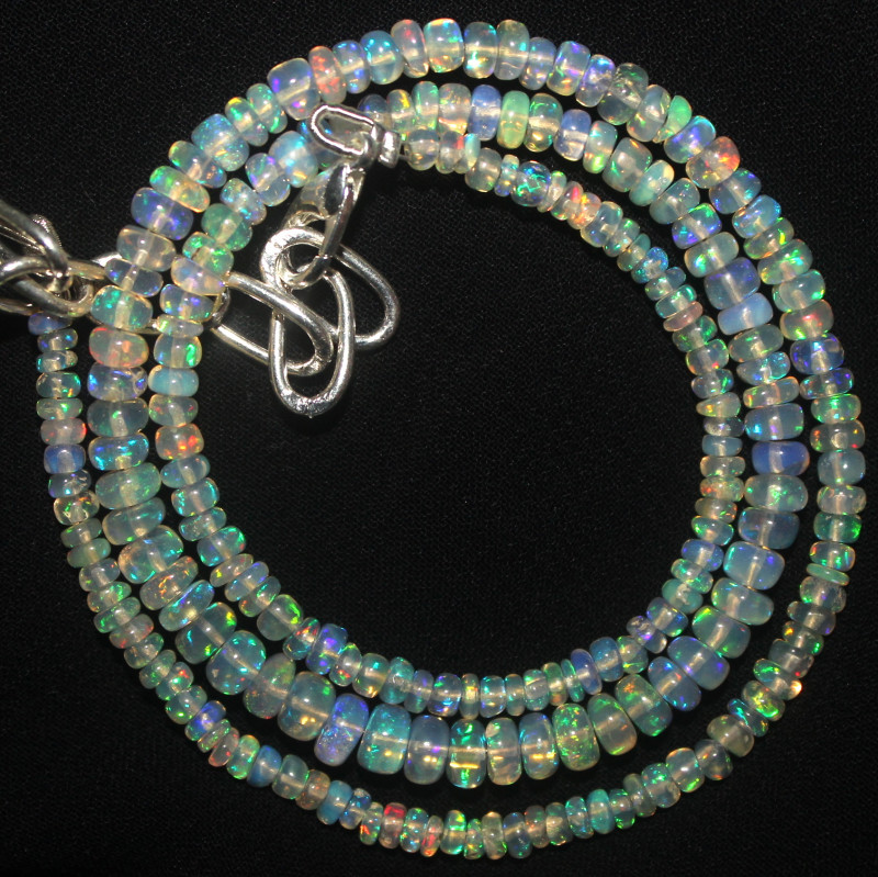 29 Crt Natural Ethiopian Welo Fire Opal Beads Necklace 1018