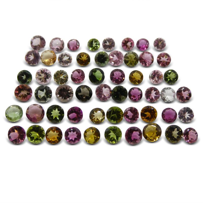 20.33 ct Multi Colour Tourmaline Round Wholesale Lot