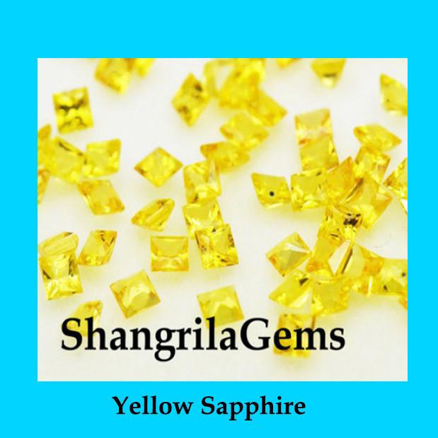 2mm Yellow Sapphire Princess cut square gemstones 2ct 24 gems