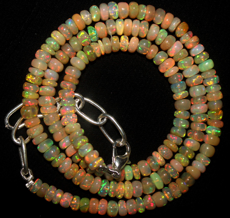 53 Crt Natural Ethiopian Welo Fire Opal Beads Necklace 1040