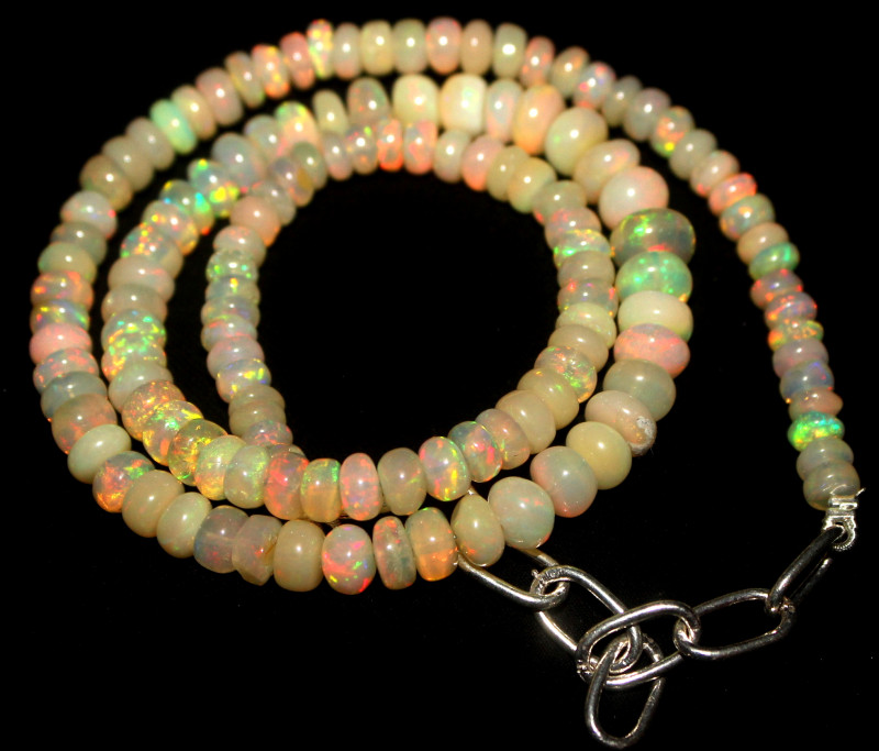69 Crt Natural Ethiopian Welo Fire Opal Beads Necklace 1043
