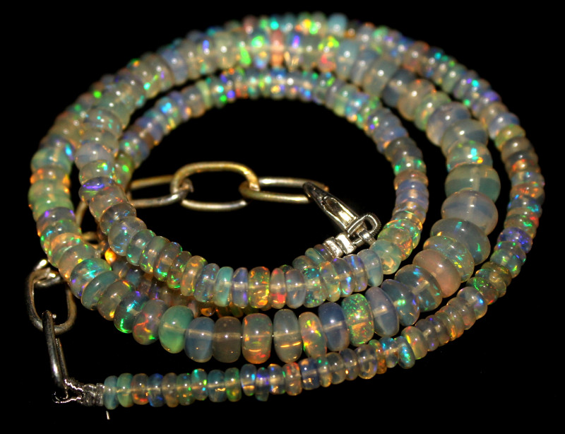 51 Crt Natural Ethiopian Welo Fire Opal Beads Necklace 1083