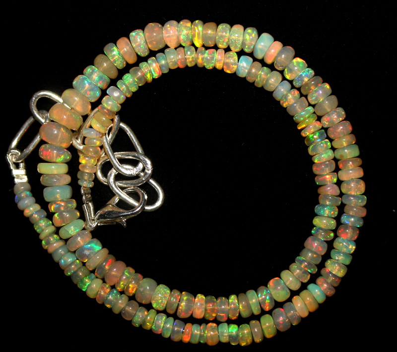 30 Crt Natural Ethiopian Welo Fire Opal Beads Necklace 1086