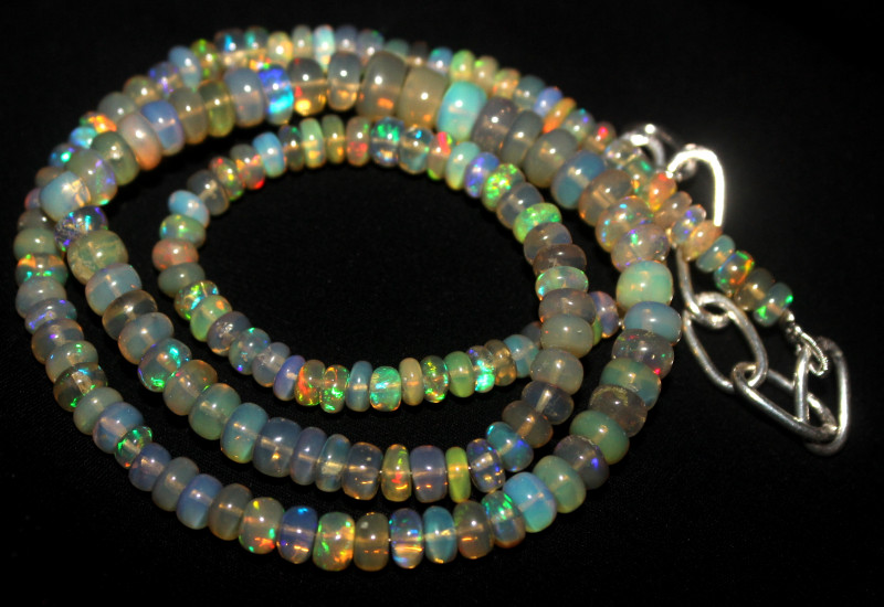 53 Crt Natural Ethiopian Welo Fire Opal Beads Necklace 1090