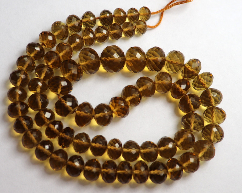 AAA+ COGNAC QUARTZ/CITRINE 6X8-7X9 FACETED ROUNDEL BEADS