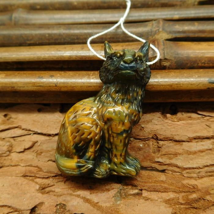 Gemstone carving wolf head pendant tiger eye craft bead (G0375)