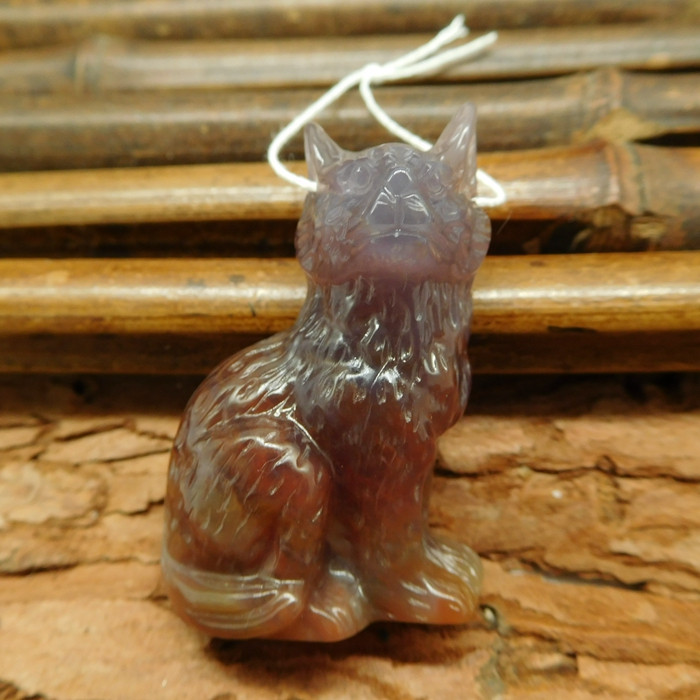 Fancy agate carving wolf head pendant bead (G0377)