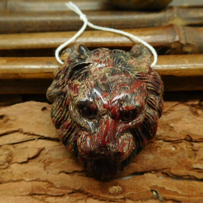 Natural gemstone crazy rosetta agate carving lion head pendant (G0379)