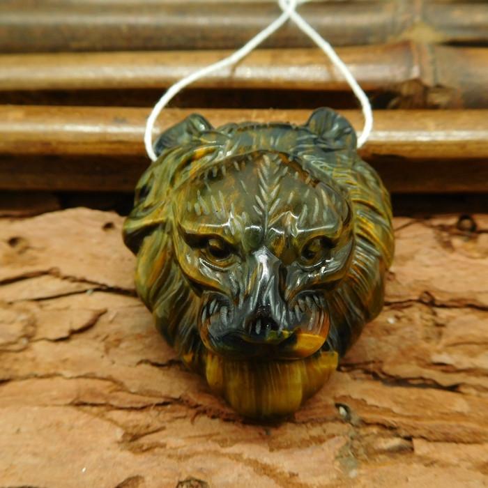 Handmade stone tiger eye carft lion head pendant (G0381)