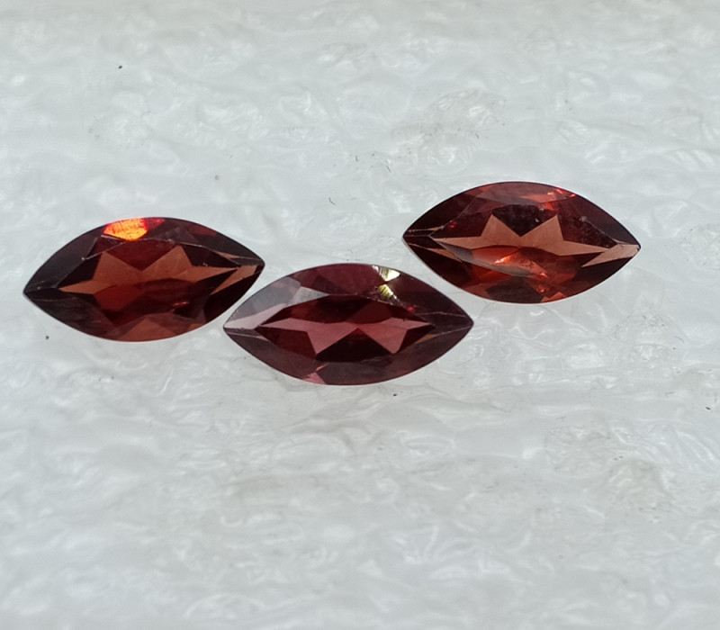 12x6mm Natural Garnet (3 Stones) Loose Gemstone UnTreated VAF57