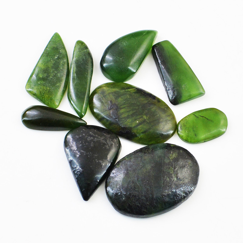 Genuine 132.00 Cts Green Jade Cabochon Lot