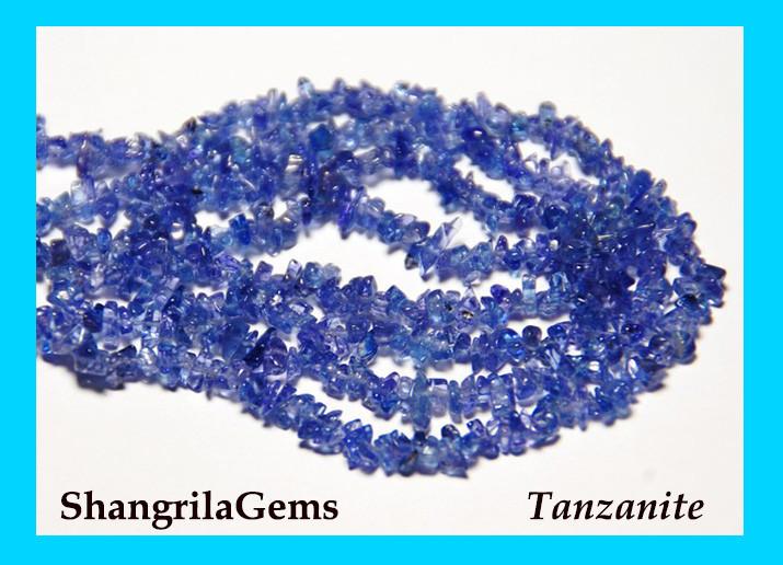 TANZANITE chip beads 4-6mm 18 inch line