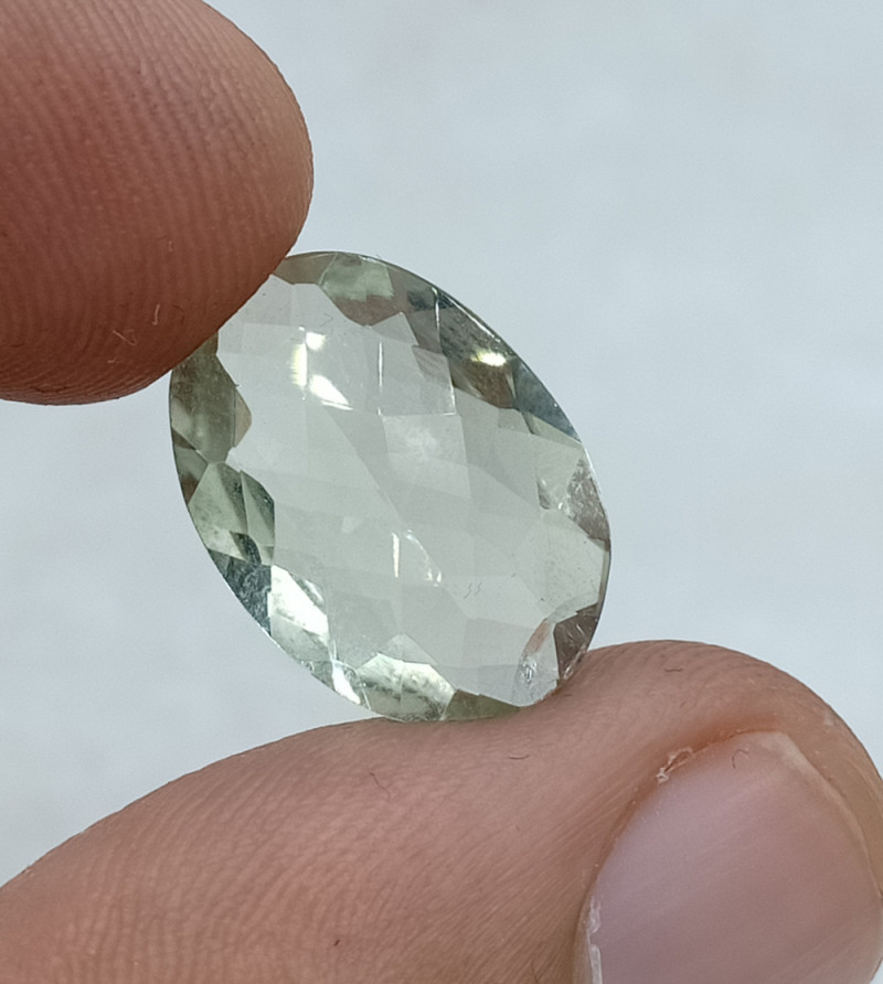 18x13mm Natural Green Amethyst Checkered Gemstone UnTreated VAF63