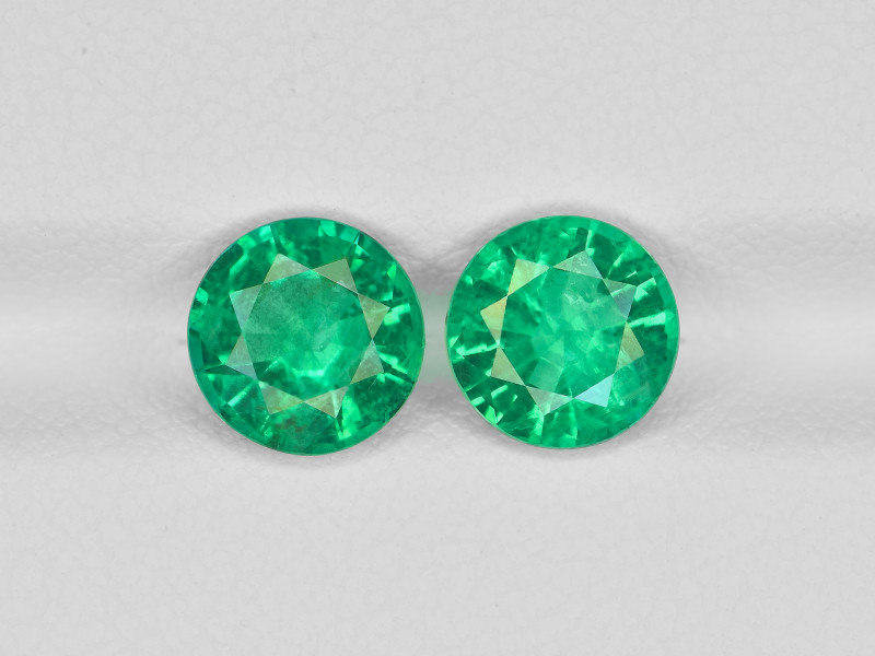 Pair of Emeralds, 2.46ct - Mined in Zambia   Certified by GRS