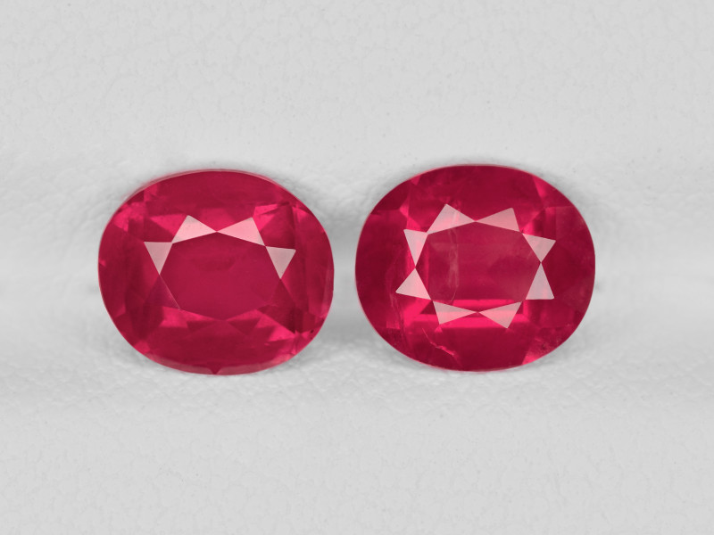Pair of Rubies, 2.61ct - Mined in Tanzania   Certified by GRS