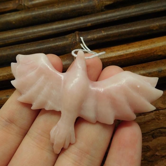 Pink opal carved bird pendant (G0384)